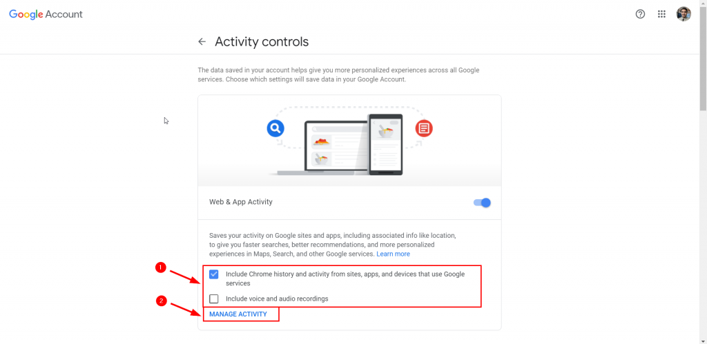 manage activity google location